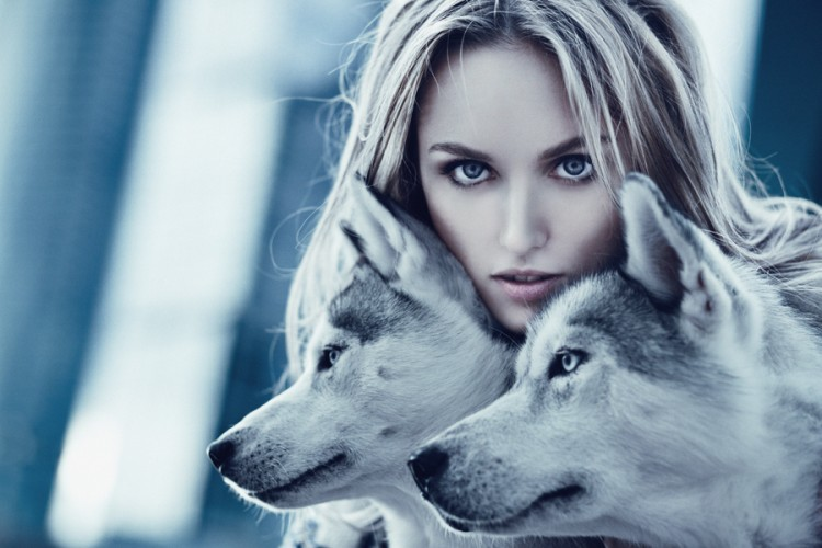 woman and wolves