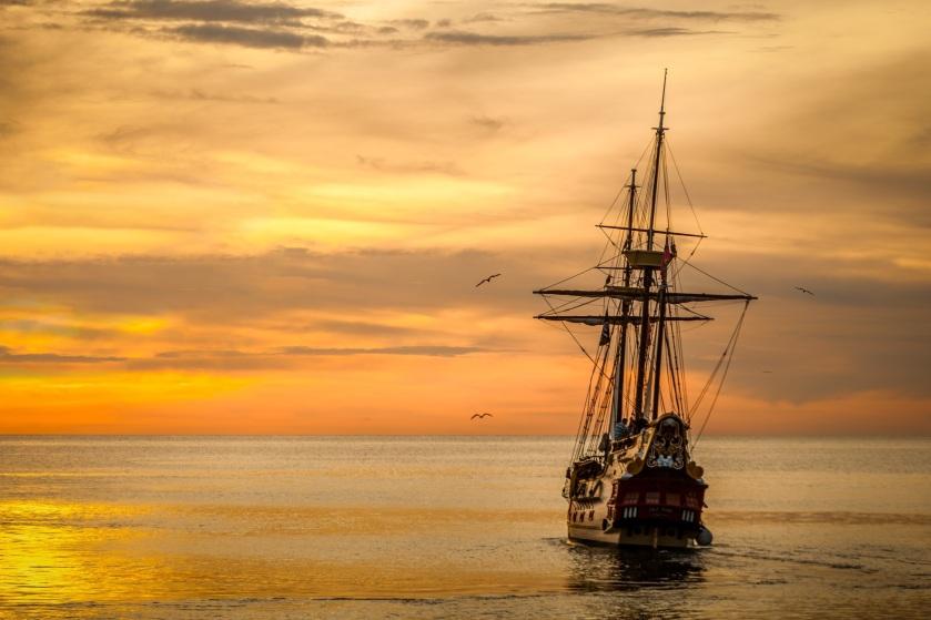 sunset-boat-sea-ship-37730