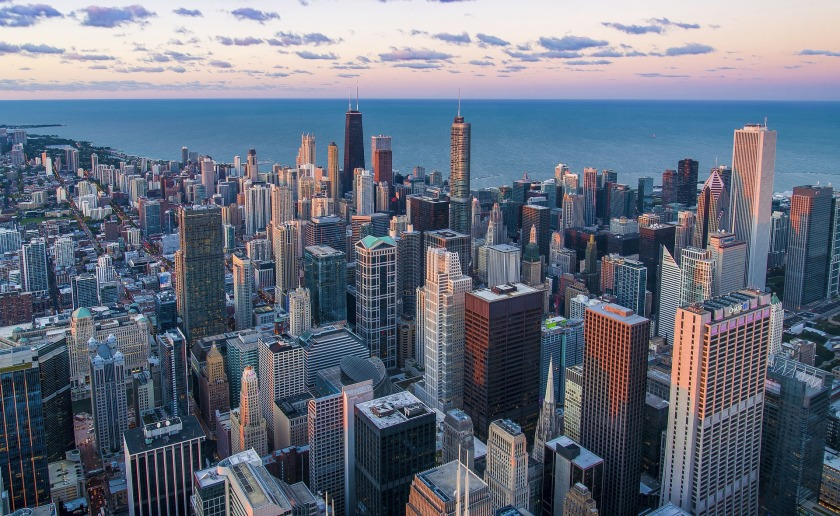 Chicago skyline with lake in background